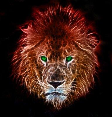 Sticker Fantasy art numérique de fractale d'un lion sur un fond isolé