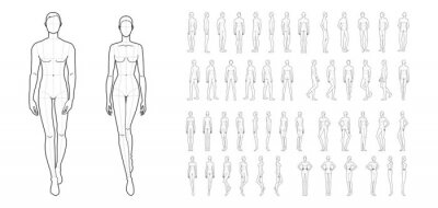 Sticker Fashion template of 50 men and women.