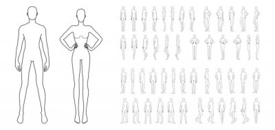 Sticker Fashion template of 50 men and women. 9 head size for technical drawing. Gentlemen and lady figure front, side, 3-4 and back view. Vector outline boy and girl for fashion sketching and illustration.