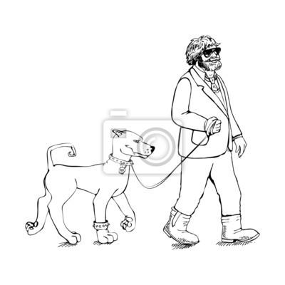 Fat guy avec un chien
