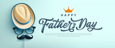 Sticker Father's Day poster or banner template with symbol of Dad from hat,glasses and mustache.Greetings and presents for Father's Day in flat lay styling.Promotion and shopping template for love dad