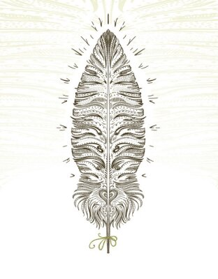 Sticker Feather ornamental symbol