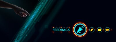 Sticker Feedback customer satisfaction review.Hand pressing button on virtual screen