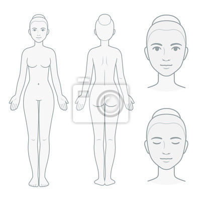 Sticker Female body and face chart