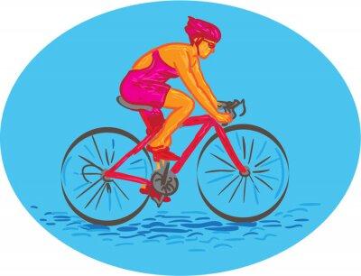 Sticker Femelle Cycliste Riding Dessin Bike