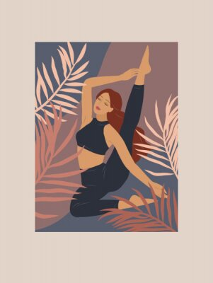 Sticker Feminine concept. Cute girl doing yoga poses. Lifestyle by young woman. Fashion illustration by femininity, beauty and mental health. Vector cartoon