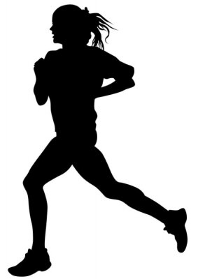 Sticker Femme, athlètes, course, course, blanc, fond
