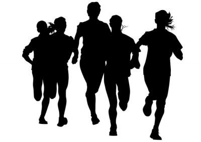 Sticker Femme athlètes sur la race la course sur fond blanc