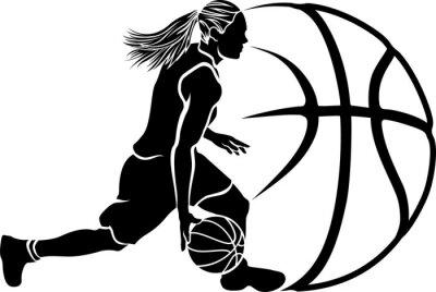 Sticker Femme Basket Dribble Sihouette avec la balle