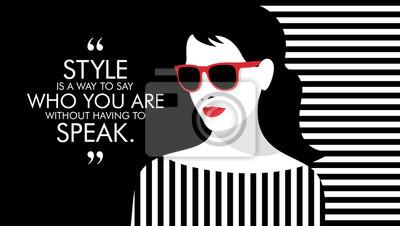 Sticker Femme de mode avec citation. Illustration d'une fille élégante.