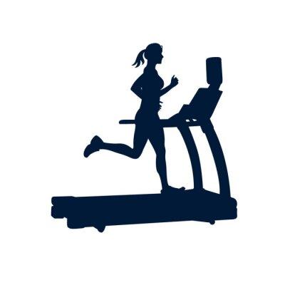 Sticker Femme faisant des exercices sur tapis roulant, sur fond blanc,