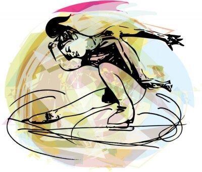 Sticker femme glace skater au coloré arène sportive