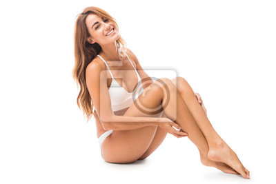 Sticker Femme heureuse avec des courbes parfaites en studio