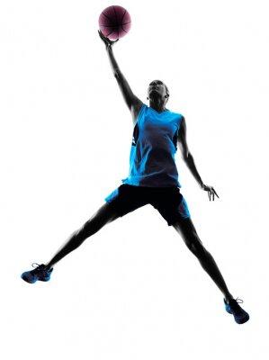 Sticker femme joueur de basket silhouette