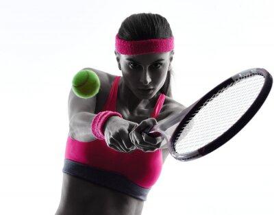 Sticker femme joueur de tennis portrait silhouette