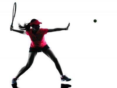Sticker femme joueur de tennis tristesse silhouette