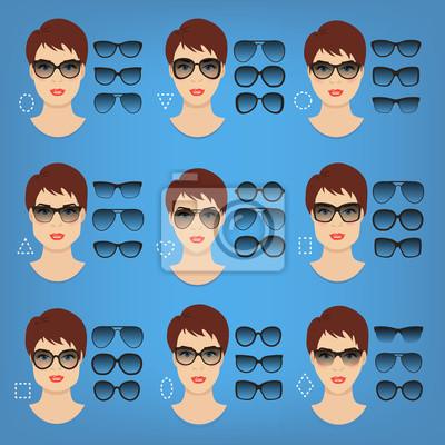Sticker: Femme, lunettes soleil, formes, différent, femmes, visage, types,