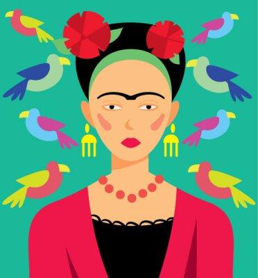 Sticker Femme mexicaine dans le maquillage, illustration vectorielle. Personnages de dessins animés.