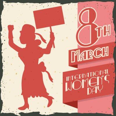 Sticker Femme, silhouette, marche, femme, jour, retro, affiche, vecteur, illustrateur