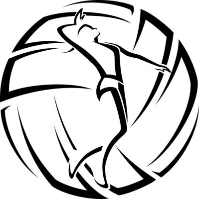 Sticker Femme Volleyball Accent
