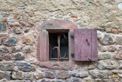 Sticker Fenêtre, fermé, vieux, médiéval, bois, volets,