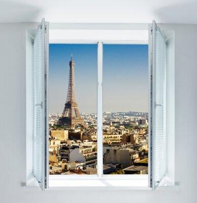 Sticker Fenêtre, tour Eiffel, toits, vue