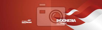 Sticker Fête de l'indépendance Indonésie drapeau ruban deux fois fond de paysage