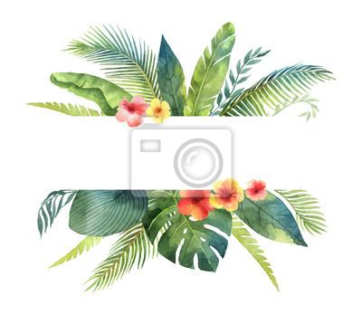 Sticker Feuilles tropicales de vecteur aquarelle bannière et branches isolés sur fond blanc.
