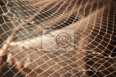 Filet de pêche vieux. Photo avec une faible profondeur de champ