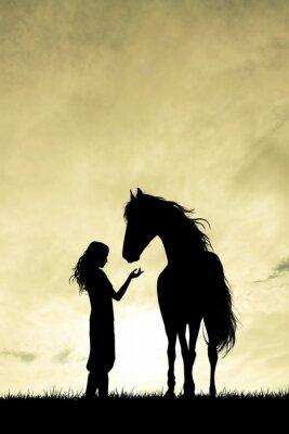 Sticker Fille, cheval, silhouette