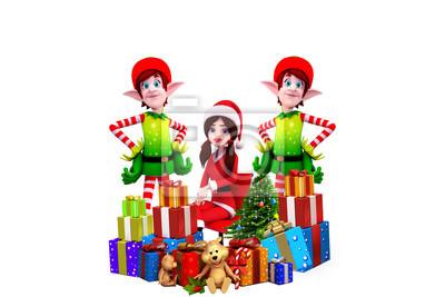 Fille de Santa avec des elfes et des cadeaux isolé sur fond blanc