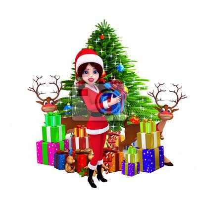 Fille de Santa montrant coffret cadeau avec des rennes