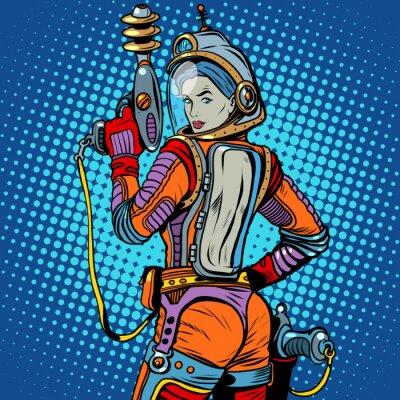 Sticker Fille, espace, marin, science-fiction, retro