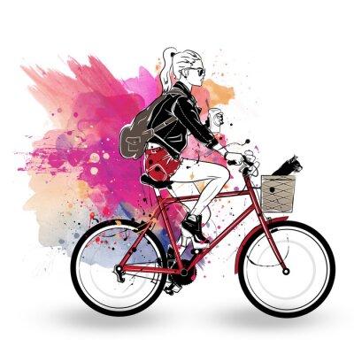 Sticker Fille Fashion dans un style croquis sur fond coloré.