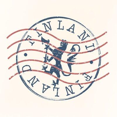 Sticker Finland Stamp Postal. Lion Silhouette Seal. Passport Round Design. Vector Icon. Design Retro Travel.