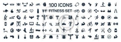 Sticker fitness et sport 100 icônes isolées sur fond blanc
