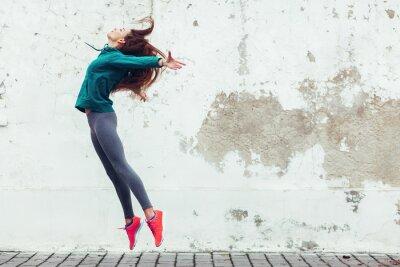 Sticker Fitness fille sport dans la rue