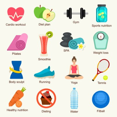 Sticker Fitness, icône, ensemble