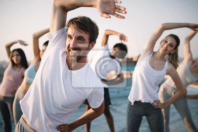 Sticker Fitness, sport, friendship and healthy lifestyle concept . Group of happy people exercising