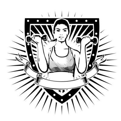 Sticker fitness woman shield