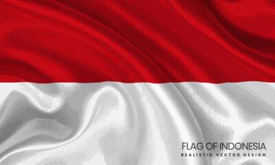 Sticker Flag of Indonesia - Realistic Vector Design