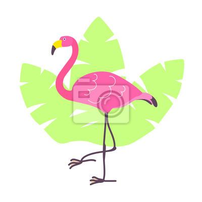 Flamant Rose Dessin Anime Mignon Et Feuilles Tropicales Verts