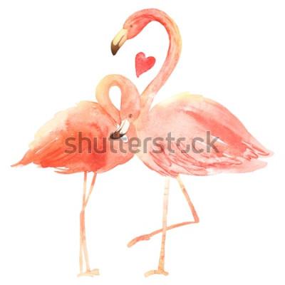 Sticker Flamants coraux vivants amoureux. Aquarelle Carte de voeux Happy Valentin. Dessiné à la main. Rose