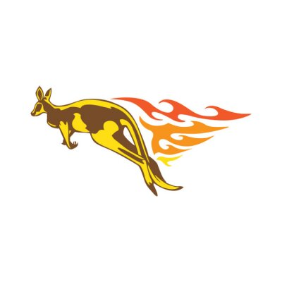 Sticker Flamme de kangourou élégante