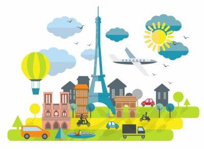 Sticker Flat illustration de conception avec la tour Eiffel à Paris Ville