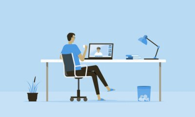 Sticker flat vector work from home workplace concept and business smart working online connect anywhere  concept