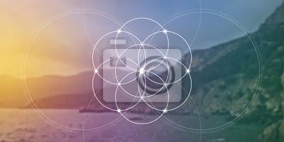 Sticker Fleur de géométrie sacrée de bannière de site Web de la vie avec des nombres de rapport d'or, des cercles de verrouillage et des particules en face de fond de nature. La formule de la nature
