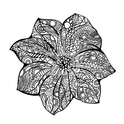 Sticker Fleur Vecteur Illustration Noir Blanc Main Dessiné Doodle