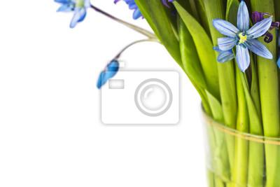fleurs bleues en verre