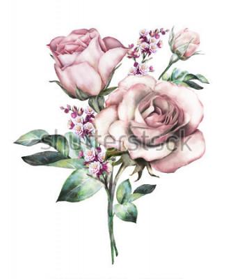 Sticker fleurs d'aquarelle. illustration de floral, fleur aux couleurs pastel, rose rose. branche de fleurs isolé sur fond blanc. Feuille et bourgeons. Jolie composition pour mariage ou carte de voeux. bouq